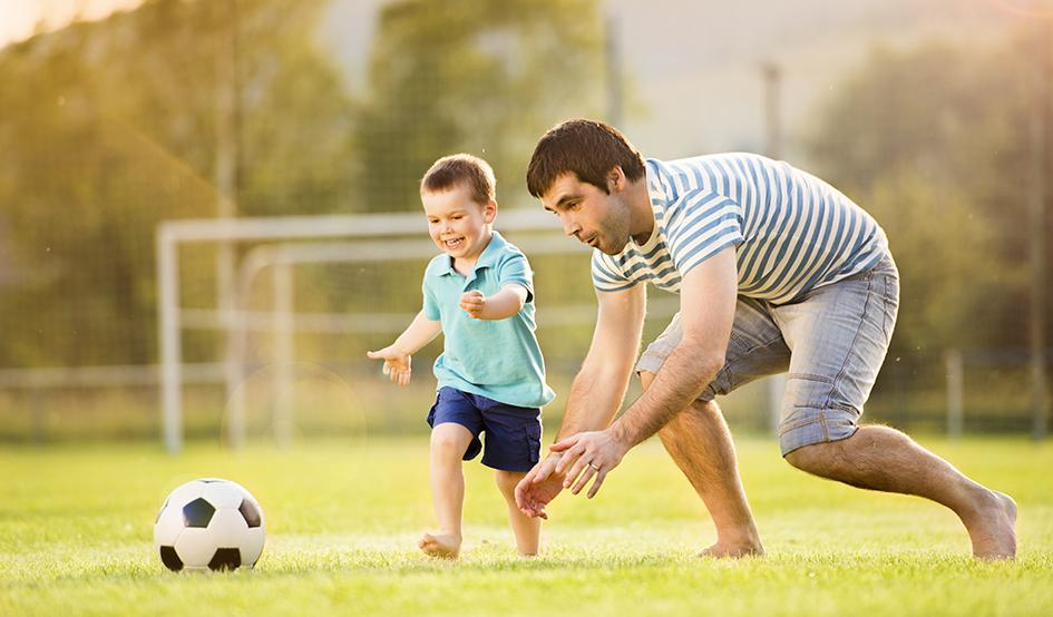 Larger coaching soccer
